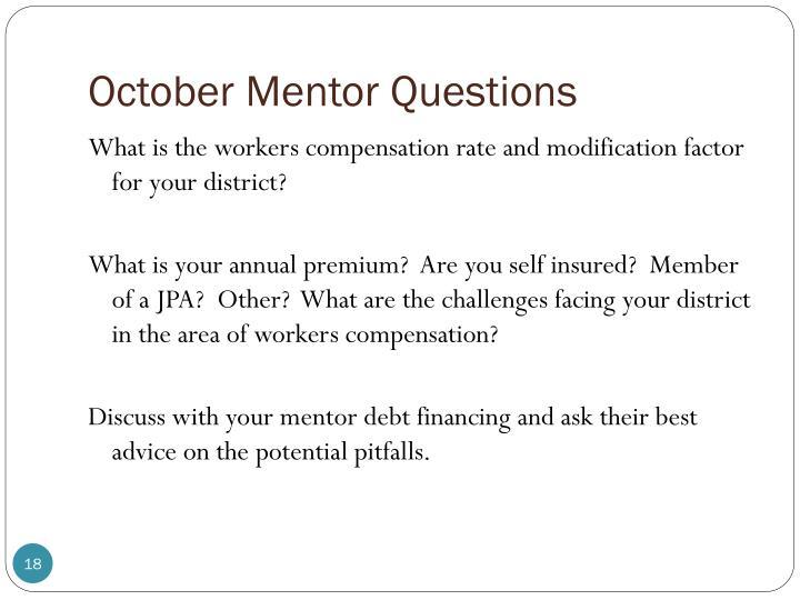 October Mentor Questions