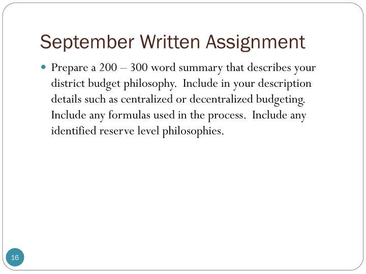 September Written Assignment