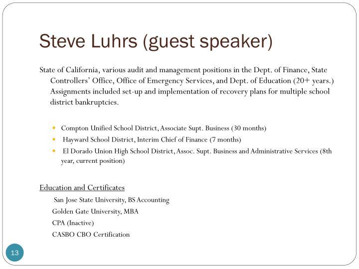 Steve Luhrs (guest speaker)
