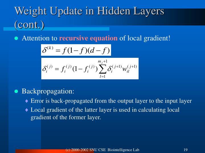 Weight Update in Hidden Layers (cont.)