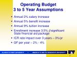 operating budget 3 to 5 year assumptions
