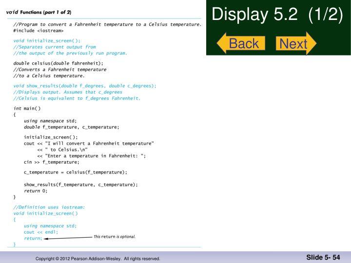 Display 5.2  (1/2)