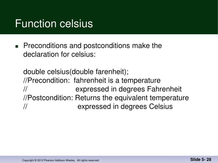 Function celsius