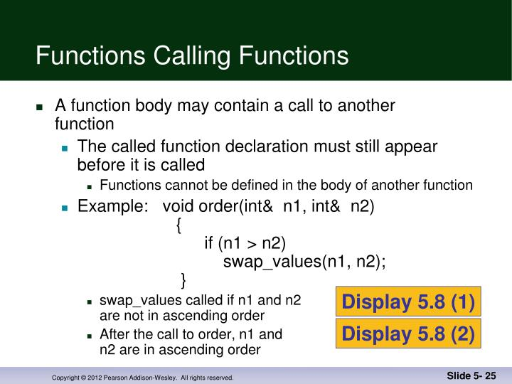 Functions Calling Functions