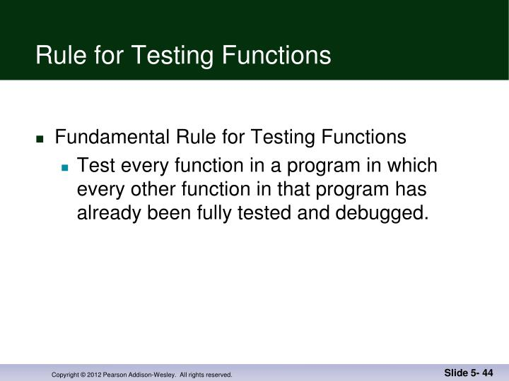 Rule for Testing Functions