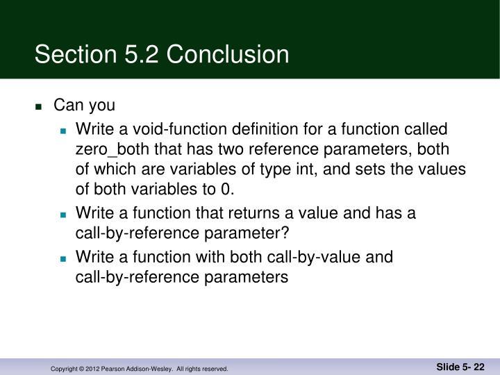 Section 5.2 Conclusion