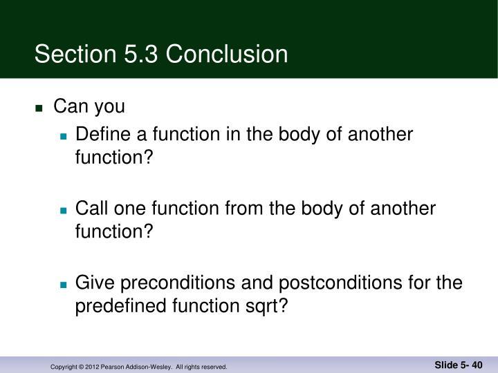 Section 5.3 Conclusion