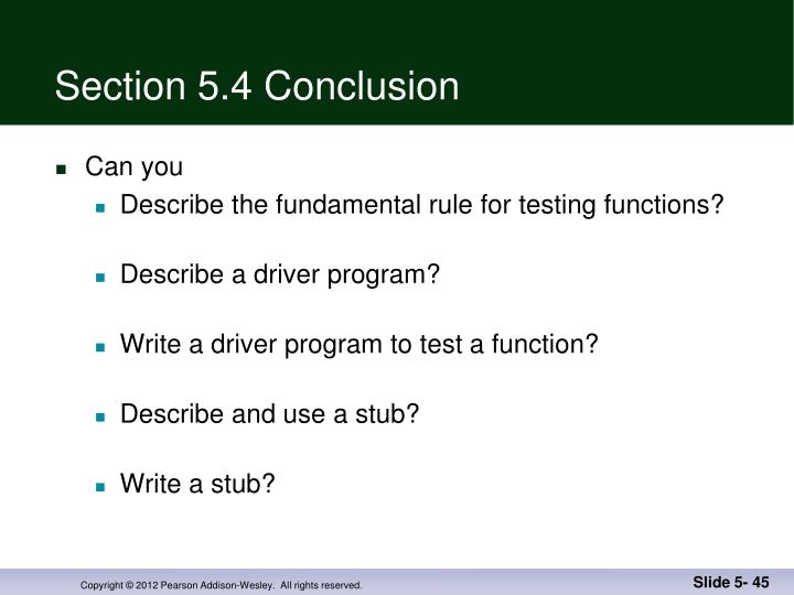 Section 5.4 Conclusion