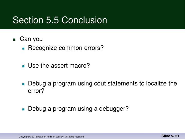 Section 5.5 Conclusion