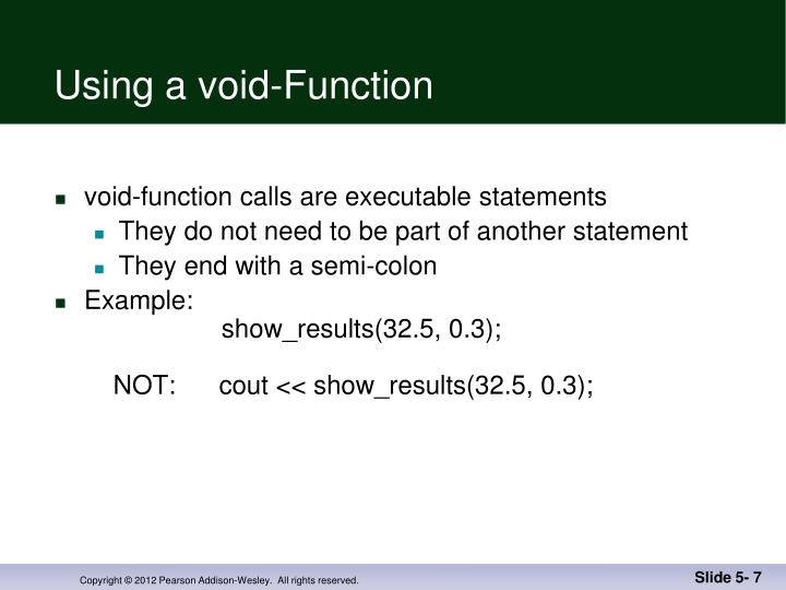 Using a void-Function