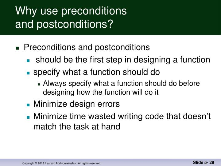 Why use preconditions