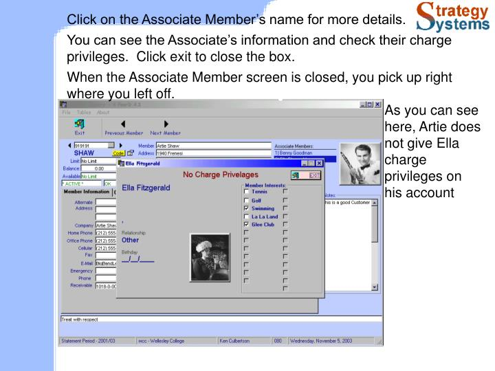 Click on the Associate Member's name for more details.