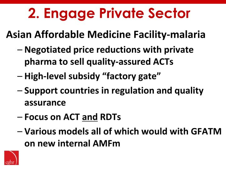 2. Engage Private Sector
