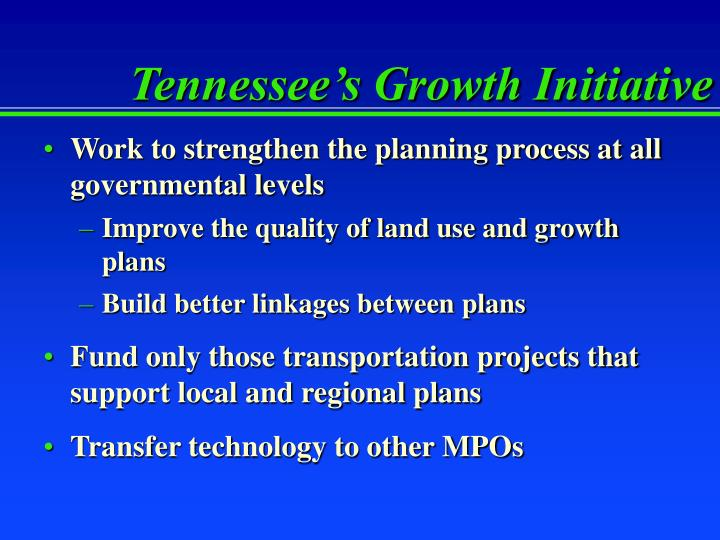 Tennessee's Growth Initiative