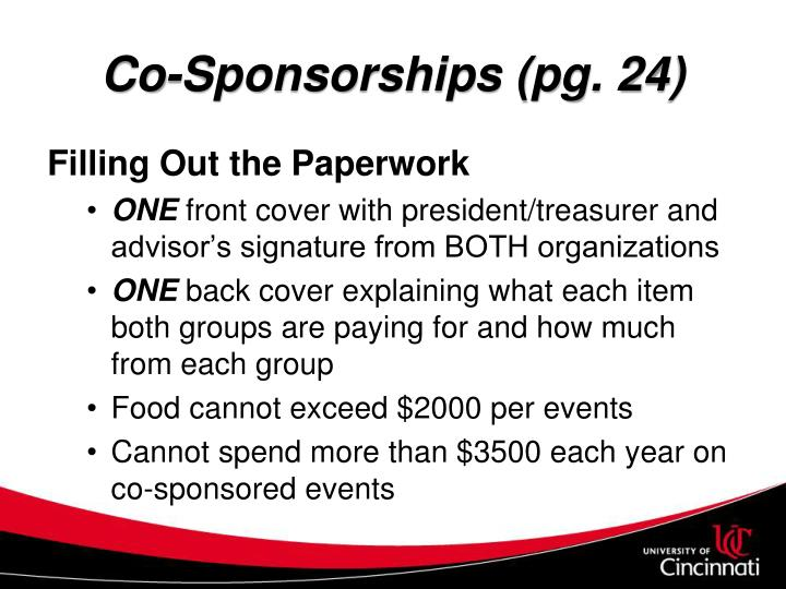 Co-Sponsorships (pg. 24)