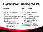 eligibility for funding pg 21