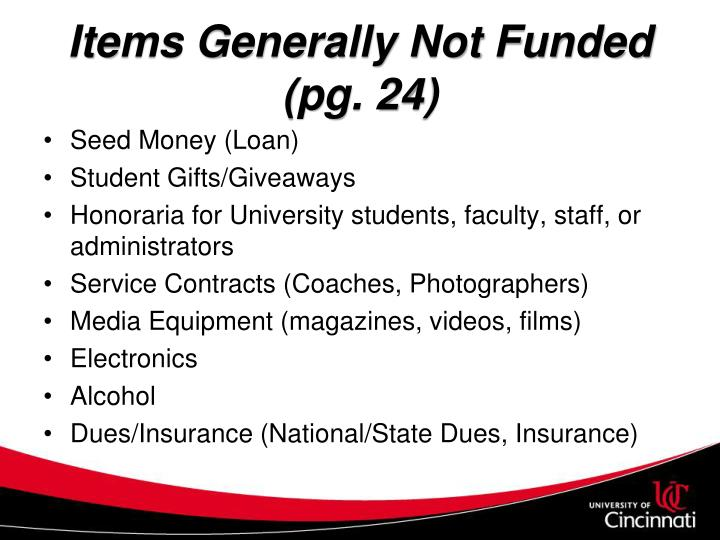 Items Generally Not Funded