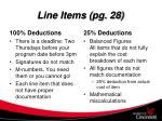 line items pg 28