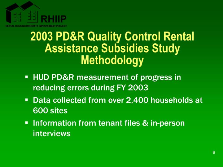 2003 PD&R Quality Control Rental Assistance Subsidies Study Methodology