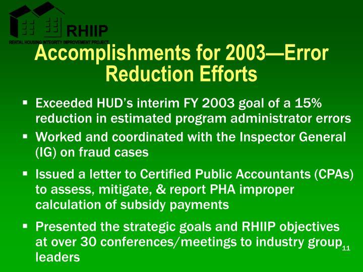 Accomplishments for 2003—Error Reduction Efforts
