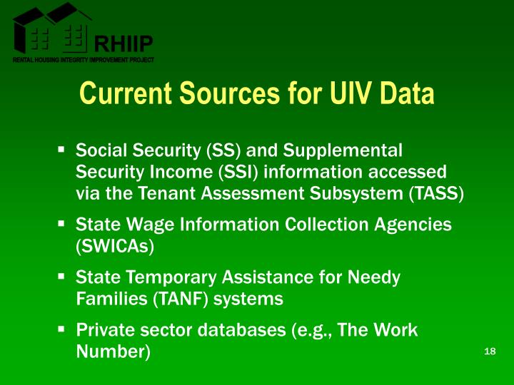 Current Sources for UIV Data