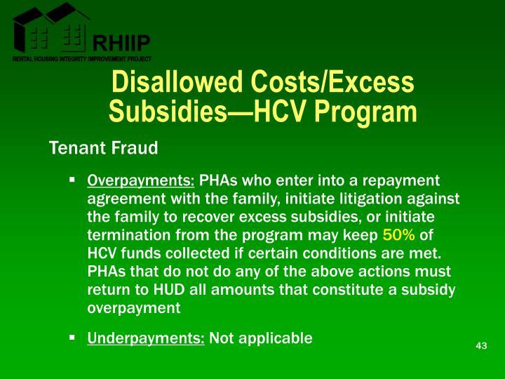 Disallowed Costs/Excess Subsidies—HCV Program