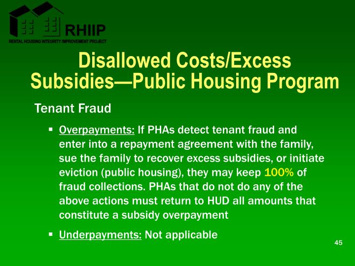 Disallowed Costs/Excess Subsidies—Public Housing Program