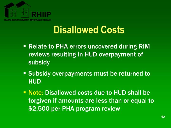 Disallowed Costs