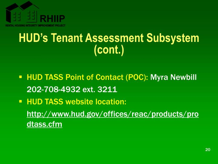 HUD's Tenant Assessment Subsystem (cont.)