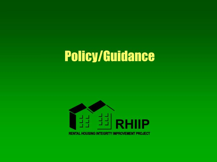 Policy/Guidance