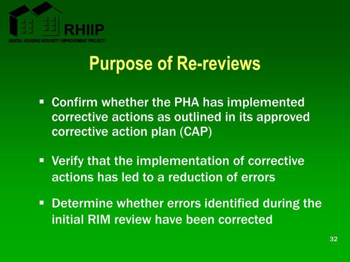 Purpose of Re-reviews