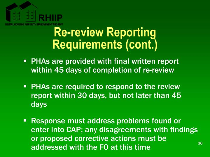 Re-review Reporting Requirements (cont.)