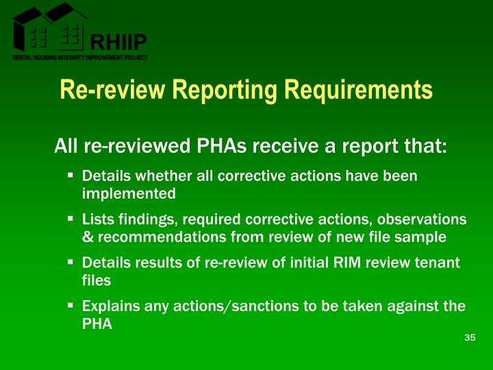 Re-review Reporting Requirements