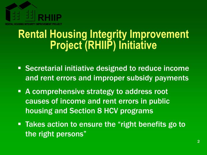 Rental Housing Integrity Improvement Project (RHIIP) Initiative