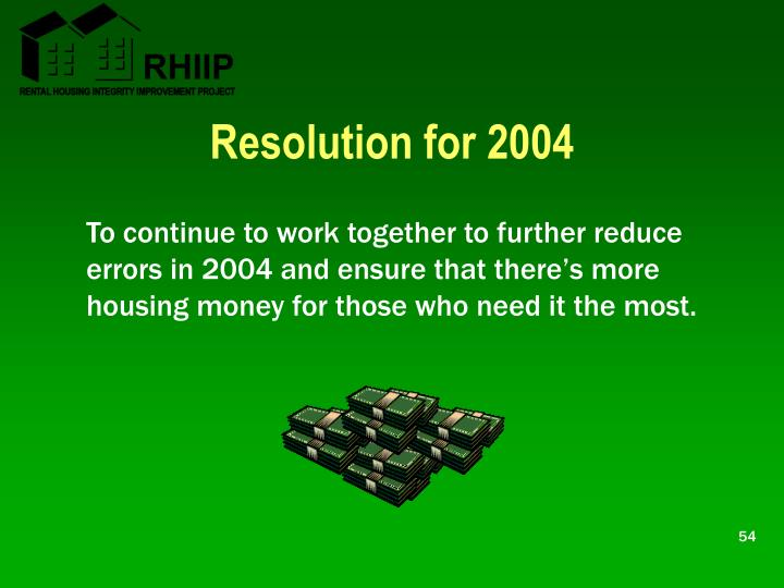 Resolution for 2004