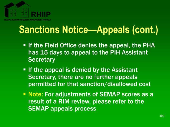 Sanctions Notice—Appeals (cont.)