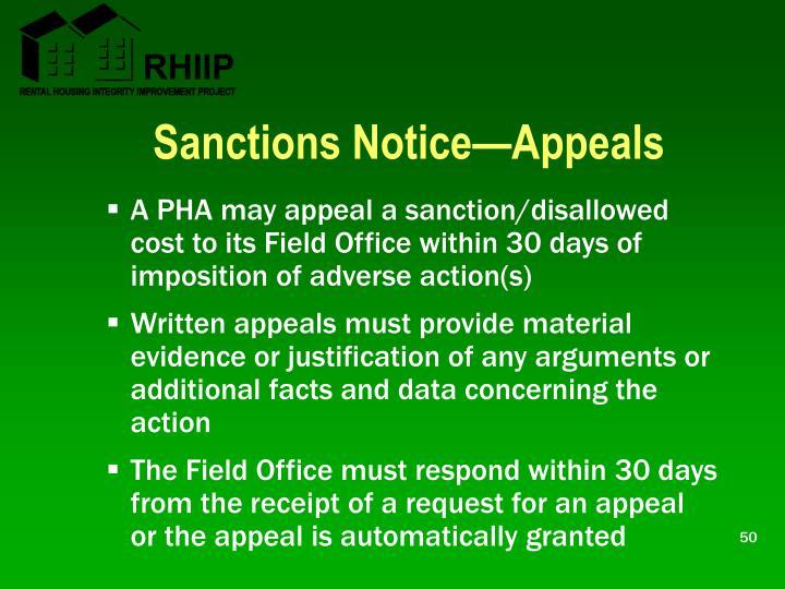 Sanctions Notice—Appeals