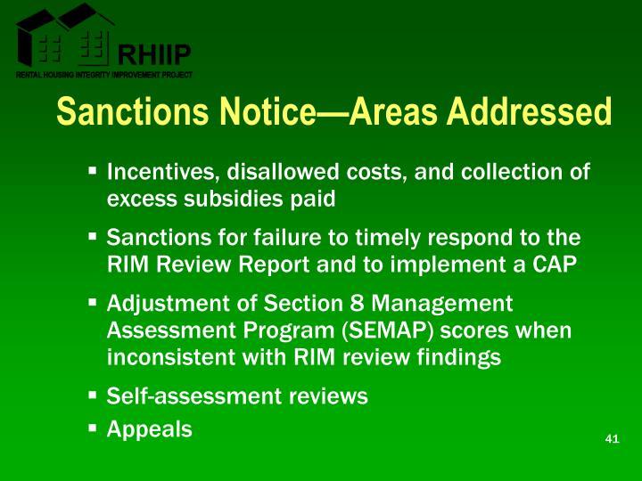 Sanctions Notice—Areas Addressed