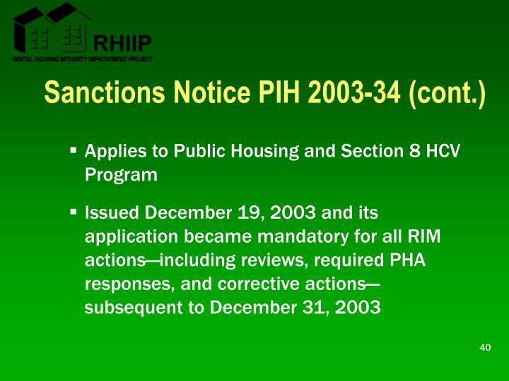 Sanctions Notice PIH 2003-34 (cont.)