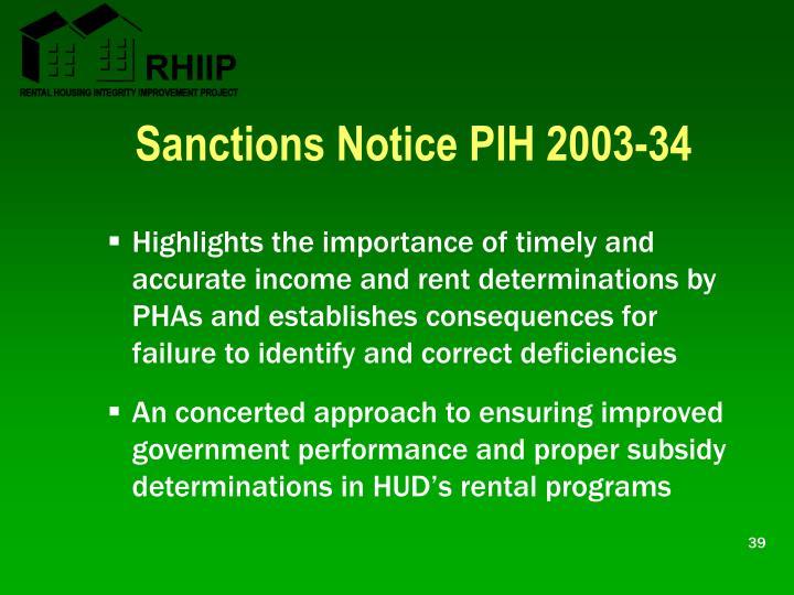 Sanctions Notice PIH 2003-34
