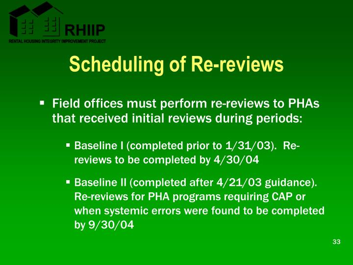Scheduling of Re-reviews