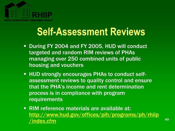 Self-Assessment Reviews