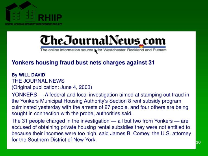 Yonkers housing fraud bust nets charges against 31