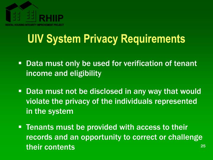 UIV System Privacy Requirements