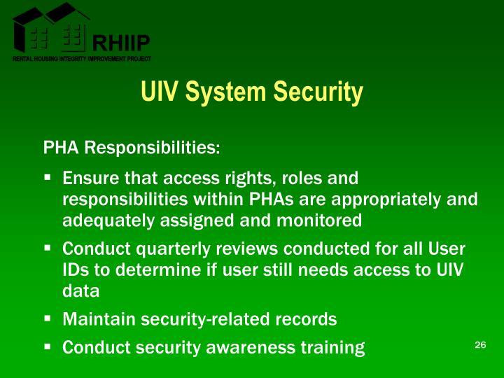 UIV System Security