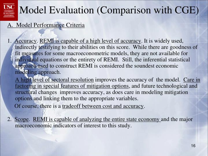 Model Evaluation (Comparison with CGE)