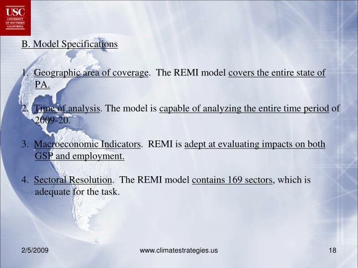 B. Model Specifications