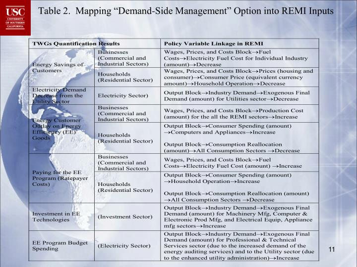 """Table 2.  Mapping """"Demand-Side Management"""" Option into REMI Inputs"""