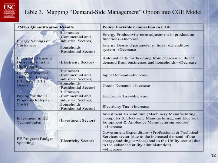"""Table 3.  Mapping """"Demand-Side Management"""" Option into CGE Model"""