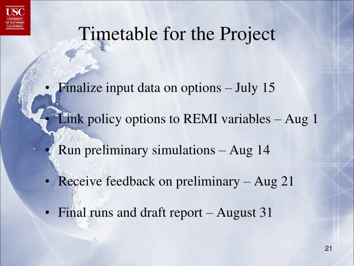 Timetable for the Project